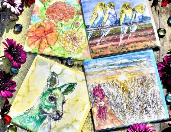 Painted animal cards.