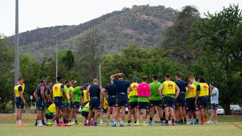 Canberra Raiders players at pre-season training.