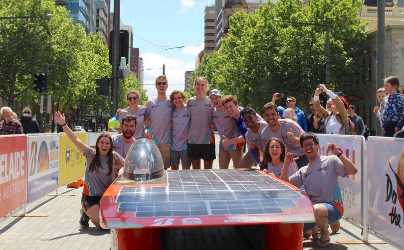 The ANU Solar Racing team at the finish line of the 2017 Bridgestone World Solar Challenge.