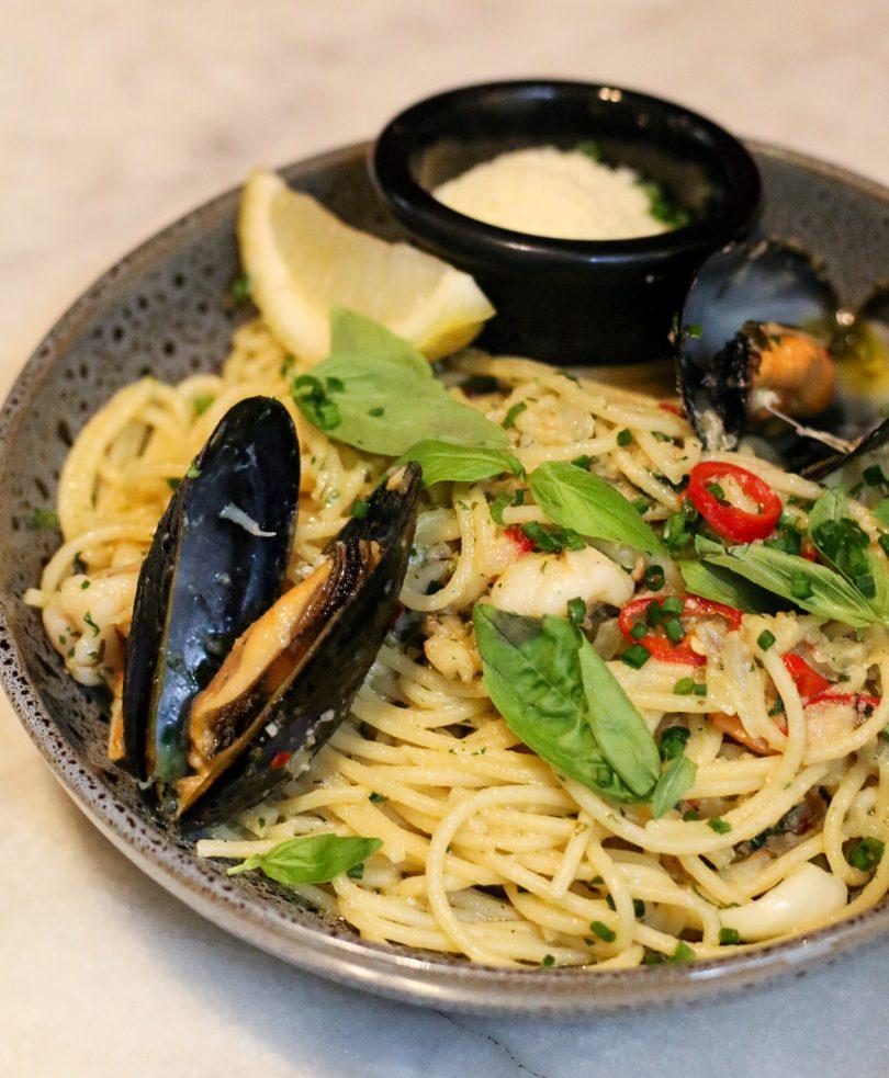 Seafood spaghetti at Parlour