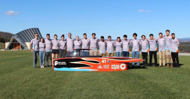 ANU Solar Racing team at Canberra Arboretum.