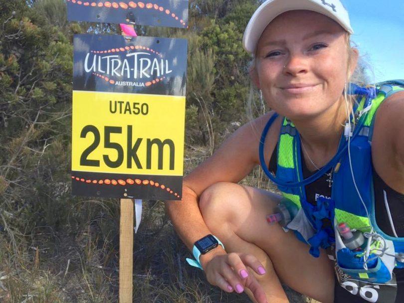 Canberra athlete Kaiti Primrose at the 25km mark a recent run.