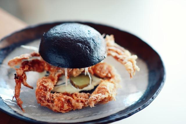 Black soft-shell crab bao-ger