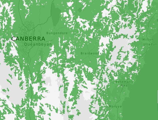 Telstra 4G network map of southeast NSW.