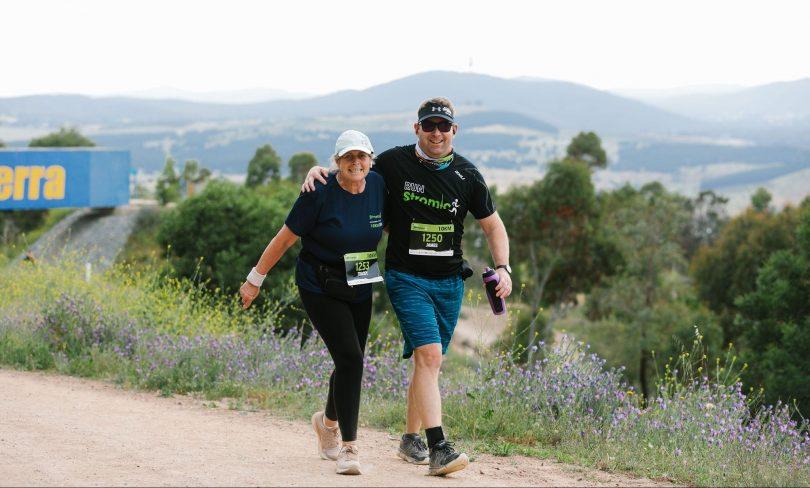 Competitors walking hills