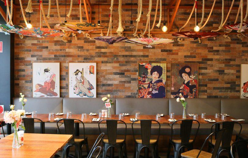 Inside seating and Japanese decor at Yaki Boi