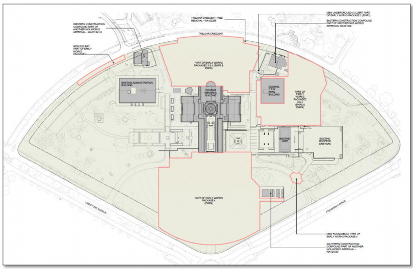 Plan of proposed early works in the Australian War memorial redevelopment.