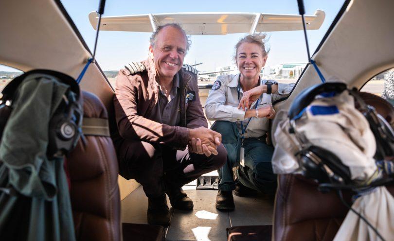 Dr Sarah May and pilot Michael Smith in aircraft.