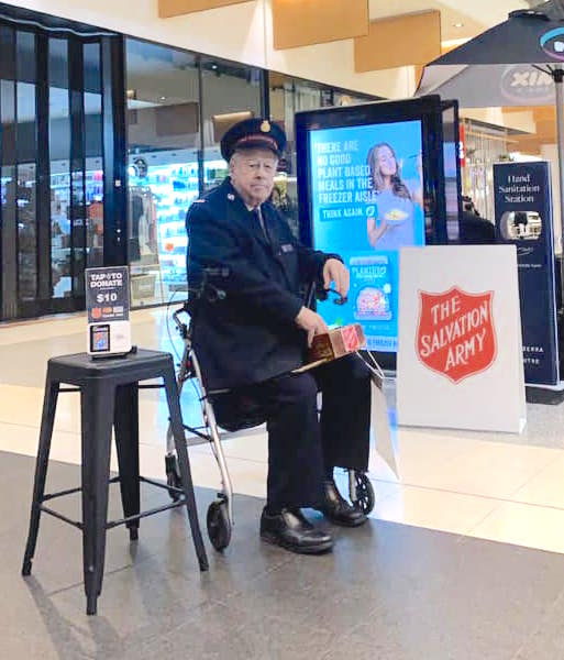 Alan Jessup collecting Salvation Army donations outside Canberra Centre.