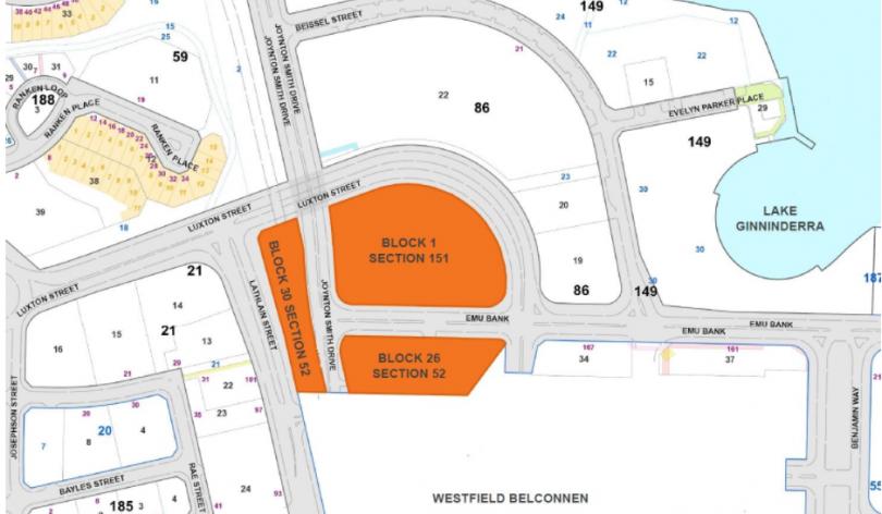 Land release sites in Belconnen