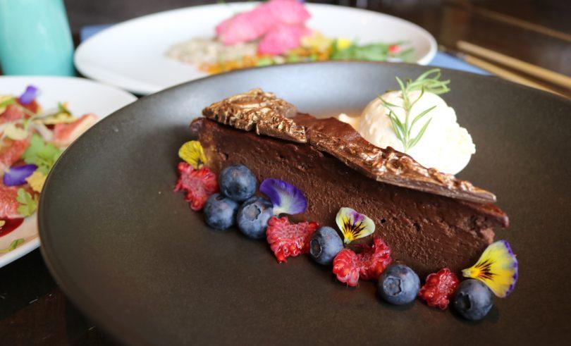 Chestnut and bitter chocolate dessert