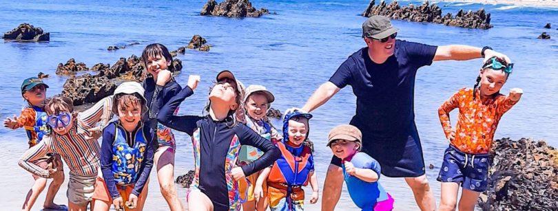 Mark and their nine children