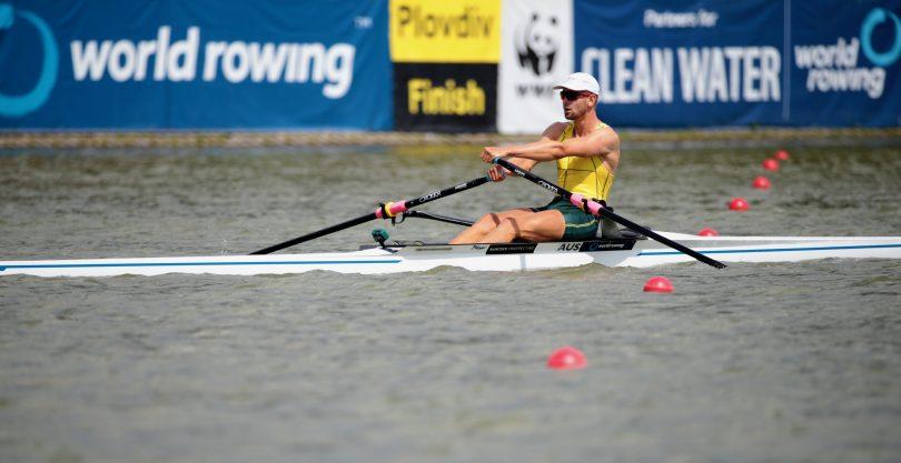 Luke rowing in the single scull