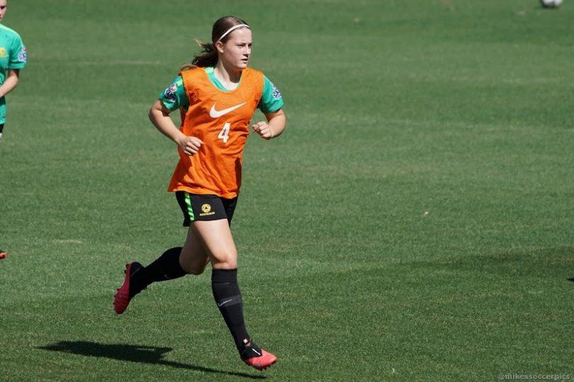 Canberra's Jaya Bowman training in the junior Matildas' squad