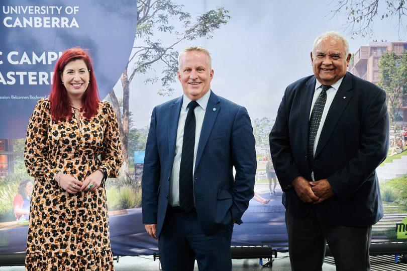 Minister Tara Cheyne, University of Canberra vice-chancellor Professor Paddy Nixon, and University of Canberra chancellor Professor Thomas Calma AO