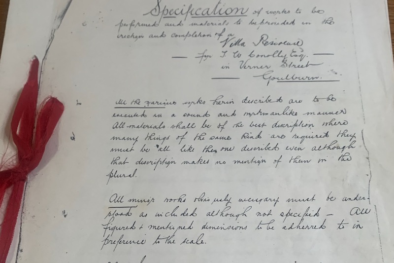 Original handwritten instructions on how to maintain the 'Tarcoola' home.