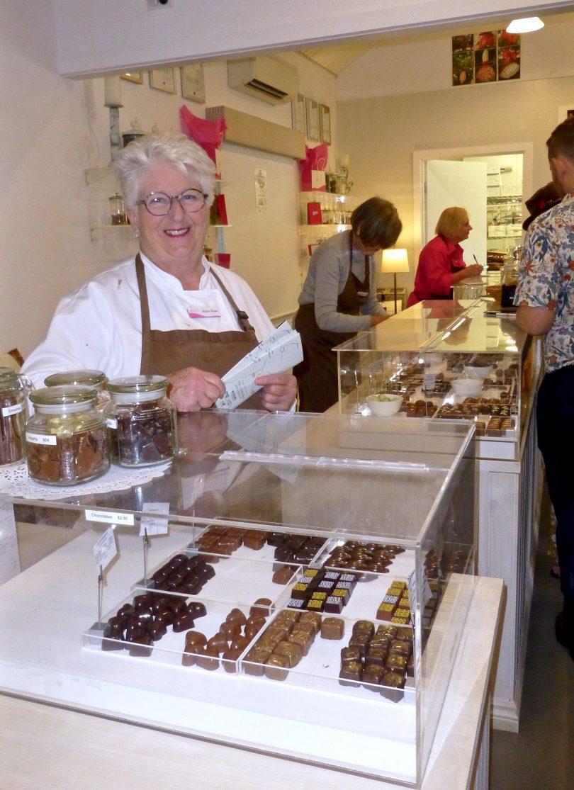 Robyn Rowe with her amazing handmade chocolates at Murrumbateman