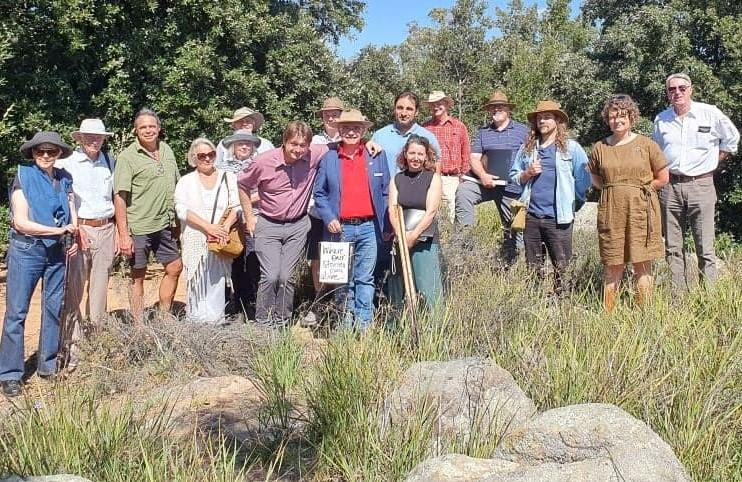 Shane Mortimer, Rebecca Vassarotti and supporters on Ainslie Volcanics and Grassland site.