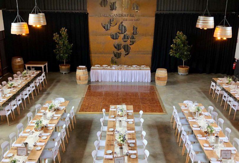 Banquet hall at Tallagandra Hill Winery.