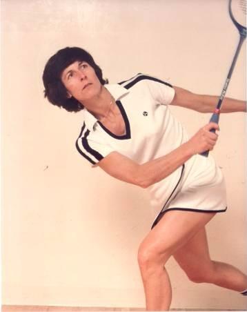 Heather McKay playing squash.