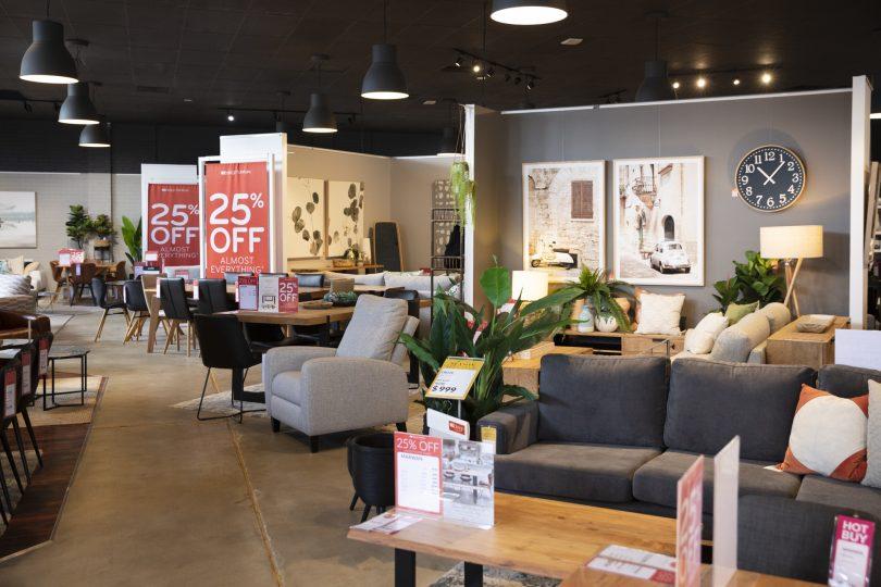Furniture items in showroom at OZ Design Furniture Fyshwick