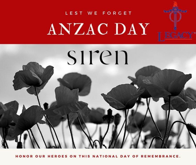 Anzac Day banner at siren
