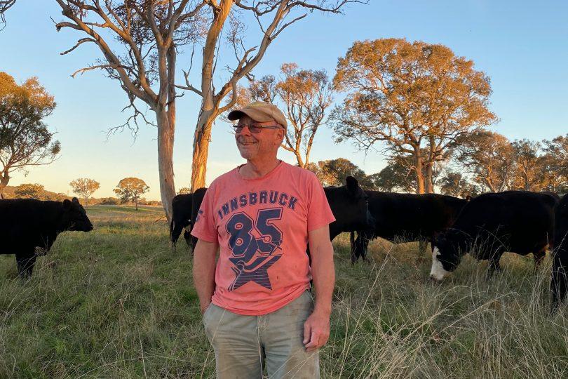 Ed Suttle with cattle on Goulburn farm