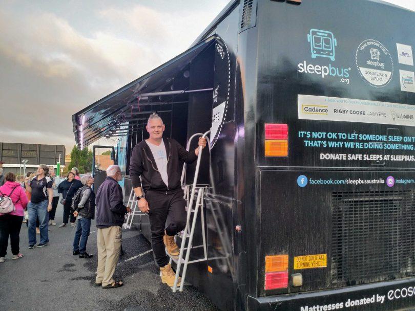 Sleepbus founder Simon Rowe at the arrival of the Queanbeyan Sleepbus