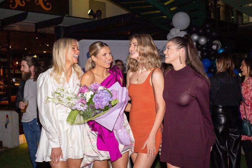 Ainslie Bull, Lorna Munro, Emma van den Hoek and Grace Robson at party