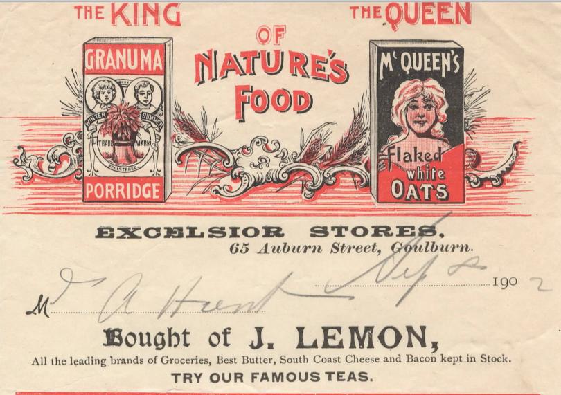 Historical docket from JT Lemon grocery store in Goulburn