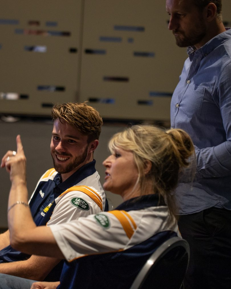 Robin Duff and Mack Hansen from the Brumbies
