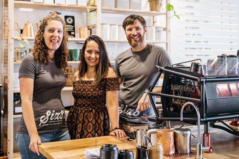 Toni Neuhaus, Milena Rose and Daniel Neuhaus at Six8 Coffee Roasters in Yass