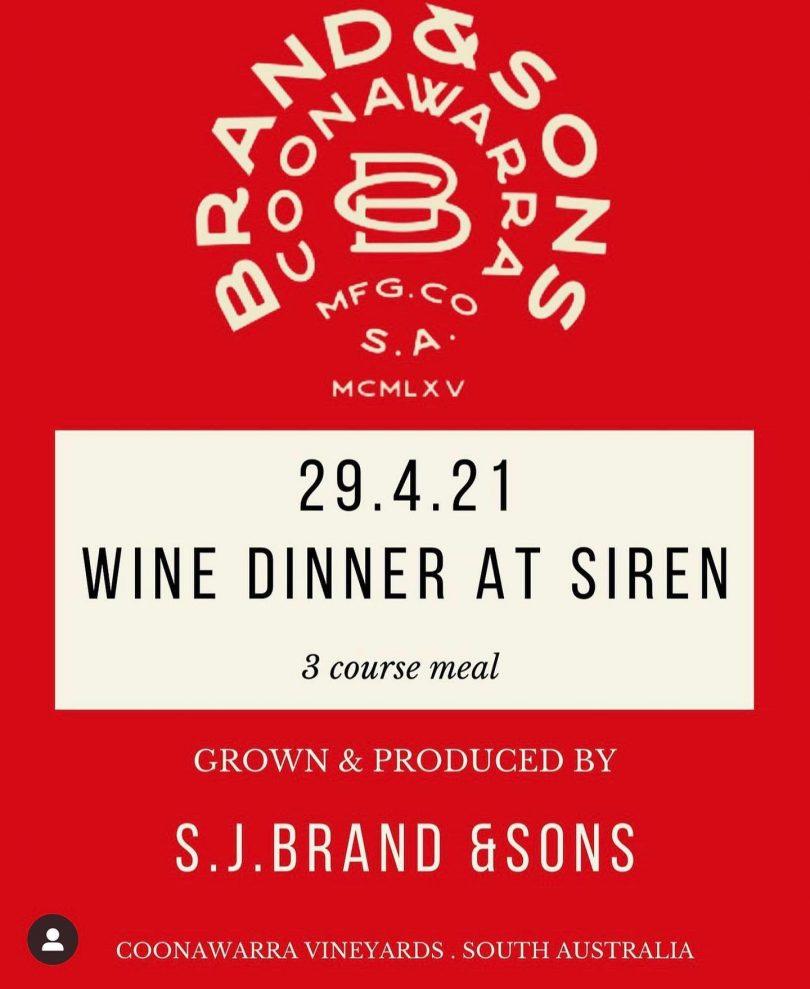 Wine dinner at Siren