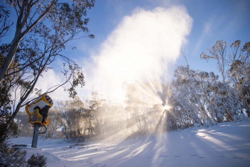 Snow guns making snow at Thredbo