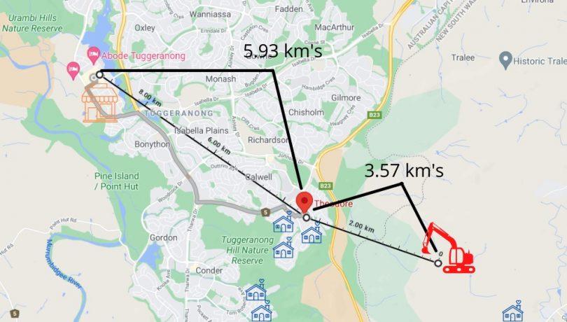 Map of Tuggeranong and Royalla