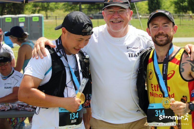 Alex Lee, Rob de Castella and Ethan Mulholland at Stromlo Running Festival