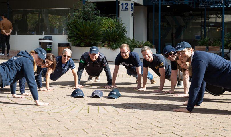 Lifeline Canberra staff doing push-ups