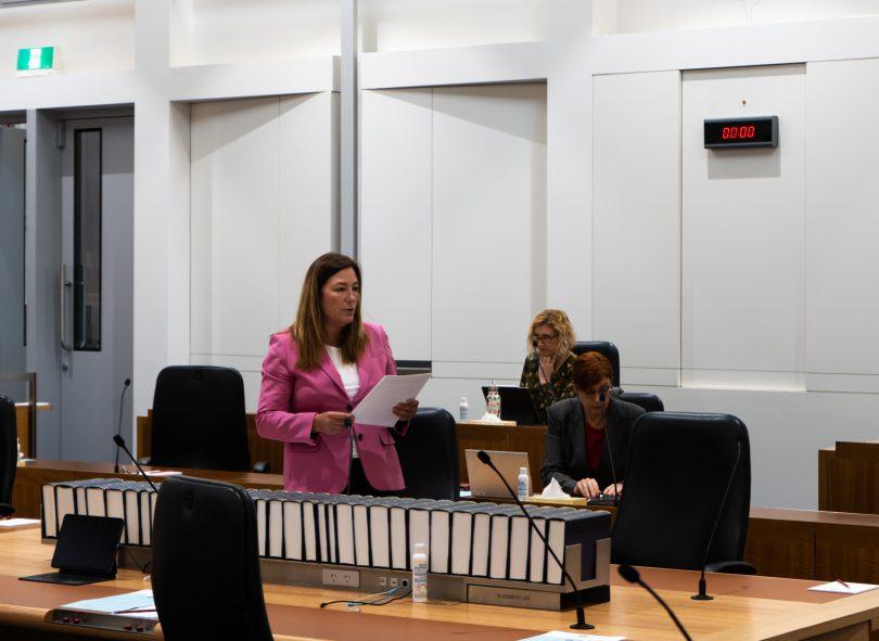 Yvette Berry addressing ACT Legislative Assembly