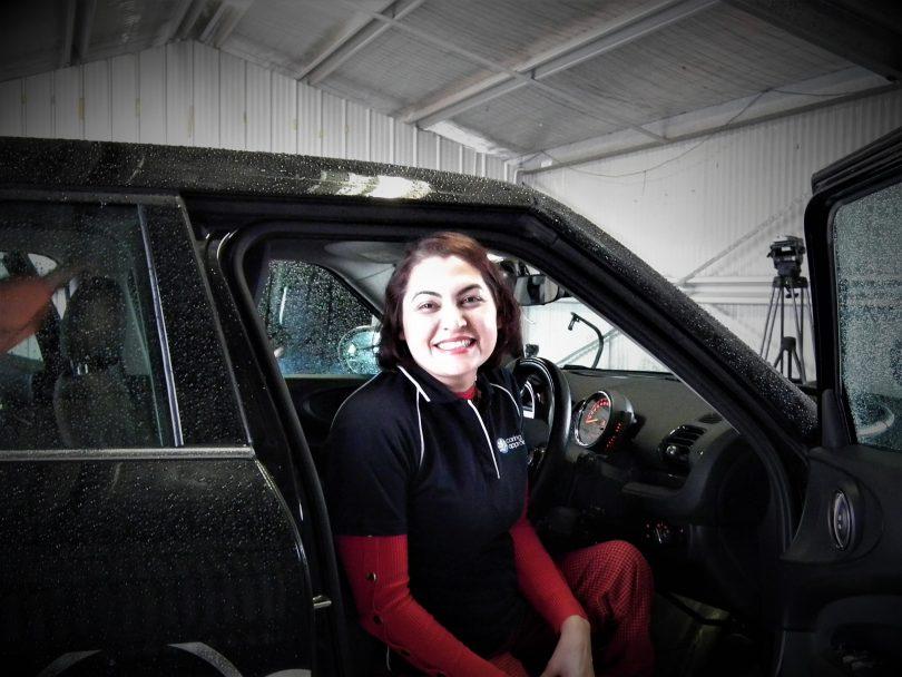 Driver Noor in a Mini