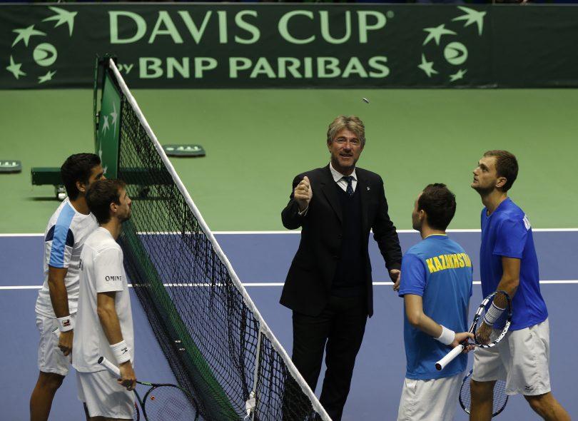 John Blom officiating at the Davis Cup in Kazakhstan