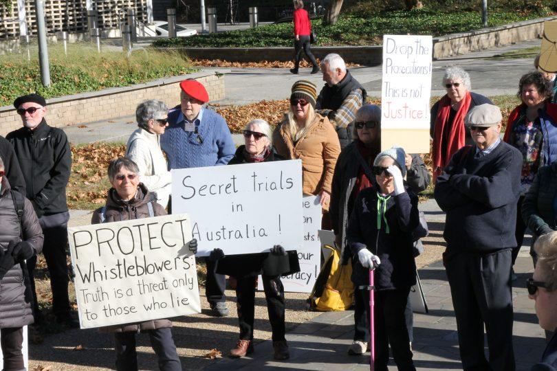 Protestors supporting Bernard Collaery