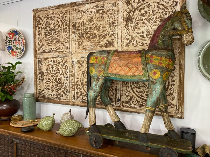 Teak horse on display at Merchant Campbell, Yass Valley