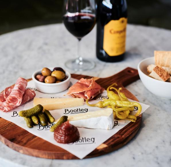 Deli board and wine