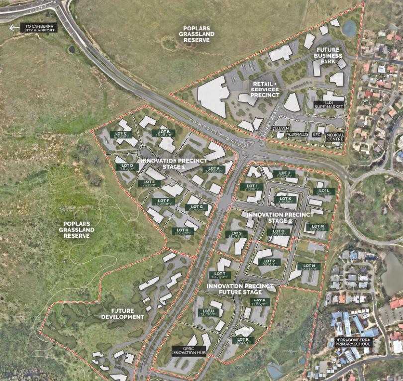 Masterplan for Poplars Innovation Precinct at South Jerrabomberra
