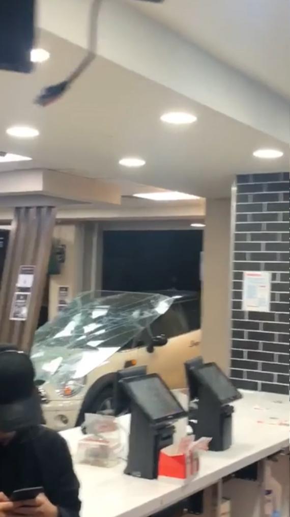 Car crashed through the KFC Hawker shopfront