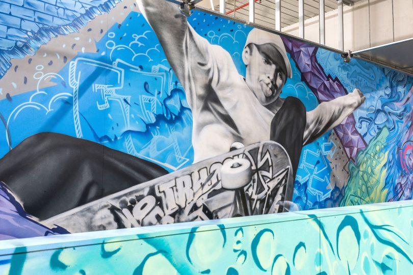Mural of skateboarder Ethan Copeland at Canberra Centre