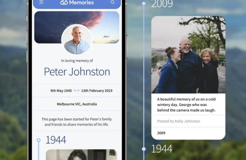 A digital memorial app as it appears on mobile phone