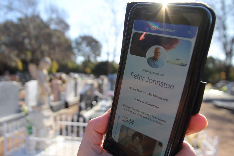 A digital memorial on mobile phone at Gungahlin Cemetery