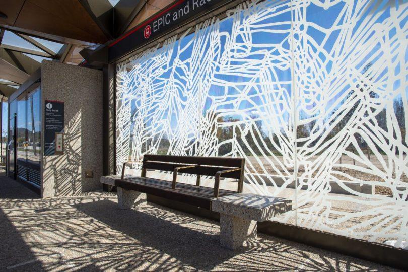 light rail station artwork