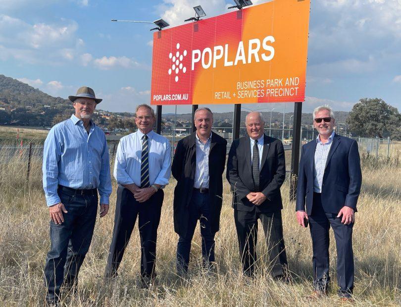 David Harper, Tim Overall, David Maxwell, Professor Leigh Sullivan and Peter Tegart at the Poplars Innovation Precinct site at South Jerrabomberra